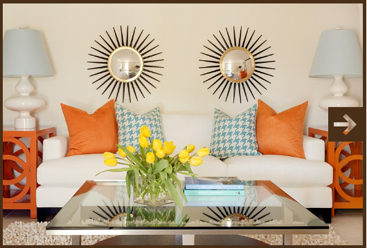 Tobi Fairley's orange living room